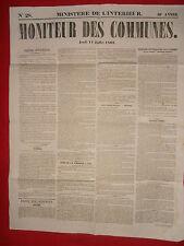 JOURNAL LE MONITEUR DES COMMUNES MINISTERE DE L'INTERIEUR N°28 - 11 JUILLET 1861