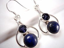 Blue Lapis Faceted Iolite Earrings 925 Sterling Silver Dangle Corona Sun Jewelry