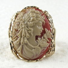 Goddess Butterfly Cameo Ring 14k Rolled Gold Jewelry Multi-Color Resin Any Size