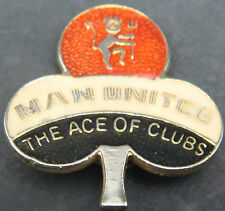 MANCHESTER UNITED ACE OF CLUBS Vintage 1970s 80s badge Brooch pin 27mm x 30mm