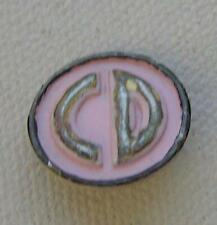 """Vintage Christian Dior Pink Metal """"CD"""" button...RARE! 1940's replacement"""