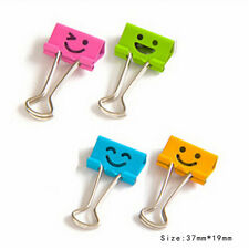 10*Cute Smile Metal Binder Clips For Home Office School File Paper Organizer