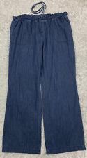 Dressbarn DB Blue Denim Pants Size Large 14 Cotton Lightweight Elastic Waist