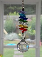 NEW HANGING GLASS CRYSTAL MULTI- SHAPED TEARDROP ROUND PRISM WINDOW SUNCATCHER