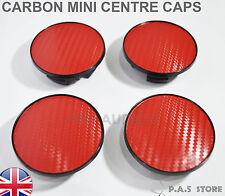 4x mini carbon red wheel centre hub caps diamètre 54mm coupe cooper-uk post