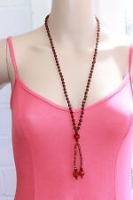 brown Ladies Glass cut crystals  Long beaded fashion lariat necklace