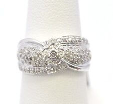 1748- 14K WHITE GOLD RING 66 DIAMONDS 0.59 CTS 5.90 GRAMS SIZE 7
