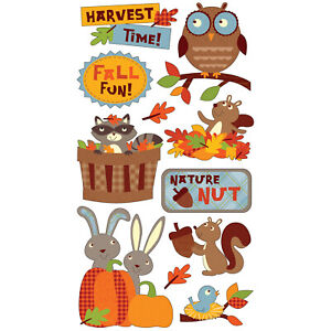 Scrapbooking Stickers Sticko Harvest Time Owl Squirrels Bunnies Fall Leaves Fun!