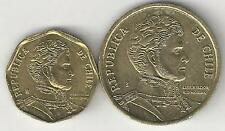2 DIFFERENT COINS from CHILE - 5 & 10 PESOS (BOTH DATING 2013)