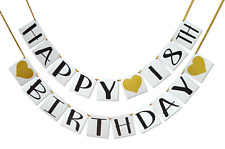 Happy 18th Birthday Banner - Gold Hearts and Ribbon - Birthday Decorations