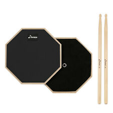 8″ Black Musical Practice Drum Pad Set For Beginner With Maple Wood Drum Stick