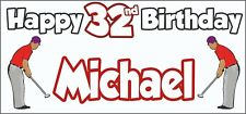 Golf Golfer Mens 32nd Birthday Banner x2 Party Decorations Personalised ANY NAME
