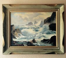 """Vintage 1961 Seascape Painting Signed Dated Framed California Artist 32""""x26""""x4"""""""