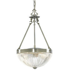 Windsor Ii Antique Brass 2 Light Ceiling Pendant Fitting With Clear Ribbed Glass