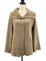 B Chyll Women Cardigan Sweater Brown Medium Cashmere Long Bell Sleeves