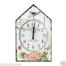"""Shabby French Vintage Bird House Glass Wall Clock Roses """"LE BOUQUET DE PROVENCE"""""""