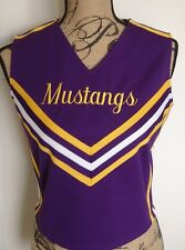 Mustangs Cheerleading Top Cheer 36 Purple Gold White Sleeveless Zipper Purple