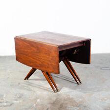 Mid Century Modern Dining Table Drop Leaf Craddock Danish Walnut Restored