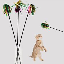 1PC Elastic Plastic Pole Bells Colorful Feather Funny Training Pet Cat Stick