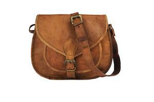 Women Style Genuine Brown Leather Cross Body Shoulder Bag Handmade Purse