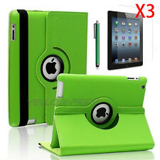 360 Rotating Folio Stand Smart Leather Case Cover w/Film For Apple iPad 2 3 4
