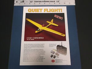 VINTAGE COX HOBBIES CANARIO ELEC R/C MODEL AIRPLANE #900408 BROCHURE *G-COND*