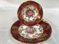 AYNSLEY JA BAILEY CUP & SAUCER PINK ROSE w/Red & Gold Rose Filigree #1227
