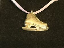 "Ice Skate TG108 English Pewter On 18"" Purple Cord Necklace"