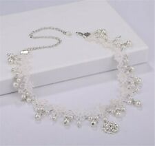 Women boho White Wedding Bride Crystal Lace Pearl Party Forehead Hair Headband
