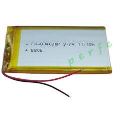 3.7V 3000 mAh batería recargable de polímero Li para GPS DVD PDA Tablet PC 804080