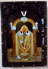 Hindu God Thirupati Venkateswara Wooden Wall Hanging Panel Tirupati Balaji Statu