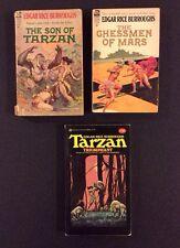 Edgar Rice Burroughs TARZAN 3 Paperback Books Chessmen of Mars Son of Tarzan