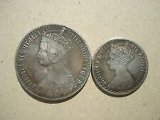Gothic Crown + Florin 2 Shillings Queen Victoria Britain UK British