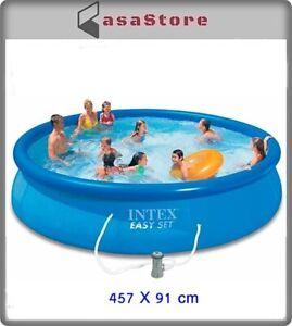 Intex Easy Set Piscina Tonda Fuoriterra Gonfiabile con Pompa filtraggio 457X91CM