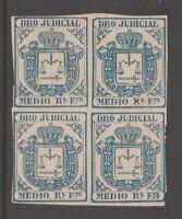 Spain Revenue stamp 4-2-21 no gum  for use in Puerto Rico & Antilles 1856-64
