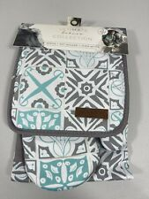 New listing Eco One Ultimate Bakers Collection Apron Pot Holder Oven Mitt Gray Teal 3 Pc Set