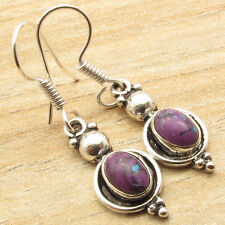 Silver Plated Jewelry Cool Girls Fashion Purple Copper Turquoise Art Earrings !