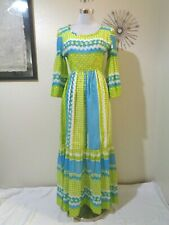 New listing 1970s Mod Hand Made Lime Green/Blue Gingham/Floral Print Bell Sleeve Maxi Dress