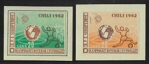 Albania 1962 Football World Cup 20L Two Mini Sheets Perf & Imperf MUH 11-11