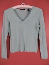 CSM01479- VALERIE STEVENS Womens 2 Ply Cashmere V-neck Sweater Blue Grainy Sz PM