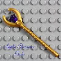 NEW Lego Pharaoh Quest GOLD STAFF  Mummy King Minifig Weapon w/Purple Jewel Gem