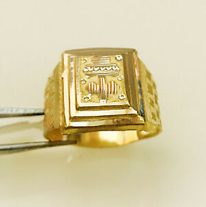 Fine Jewelry 18 Kt Hallmark Real Solid Yellow Gold Men'S Ring Size 8,9,10,11,12