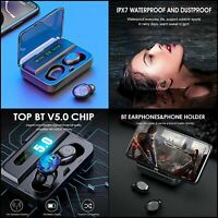 Casque Bluetooth 5.0 sans Fil TWS stéréo Musique IPX7 étanche boîtier Microphone