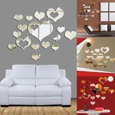 3D Mirror Wall Sticker Love Heart Decal DIY Bathroom Art Mural Decor Removable J