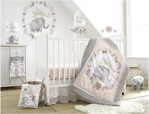 Levtex Designer Baby Jungalo Blush Elephant 5 Piece Crib Bedding Set Nursery NEW