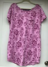Liz Claiborne Women's Size Large Pink Floral Nightgown Short Sleeves