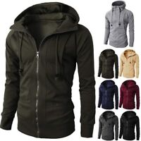 Mens Winter Slim Fit Hoodie Zip Up Hooded Sweatshirt Coat Jacket Outwear Sweater
