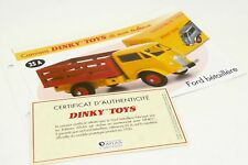 DINKY TOYS ATLAS FICHE & CERTIFICAT / FORD BETAILLERE 25A