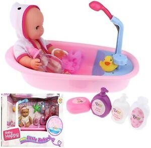 Baby Doll Bath Time Set Pretend Play Bath Tub Toys Kids Birthday Gift Set