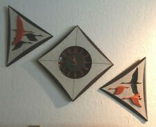 Retro Burwood Products Mid Century Diamond Sunburst Wall Clock with Plaques